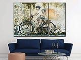 3 Piezas Lienzo Pintura,Impresiones En Lienzo 3 Piezas/Set,Moderno Pared Cuadros Decoración del Hogar Sala De Estar Dormitorio,Regalo Creativo,50Cmx70Cmx3(Marco) Bicicleta De Graffiti