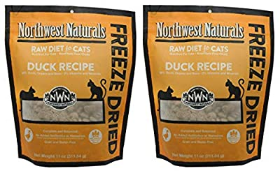 Northwest Naturals 2 Pack of Freeze-Dried Duck Raw Food for Cats, 11 Ounces Each