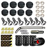 Anti Theft License Plate Screws- Anti Rust Security Car Tag Frame Mounting Hardware Kit, Stainless Steel M6 Screws Fasteners Insert Assortment, Matte Black Caps, Tire Valve Covers, Rattle Proof Pads