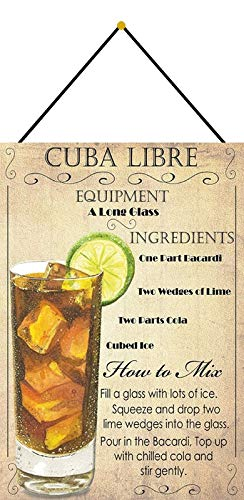 Metalen bord 20x30cm gebogen met koord Cocktail Rezept Cuba Libre Bacardi Cola IJs Limone Deco Gift Shield