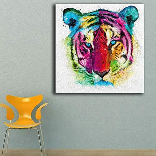 Nobrand mode olieverfschilderij tijger kop Pop Paiting Home Decor op canvas moderne muurkunst canvas druk poster canvas schilderij 60cm x60cm geen lijst