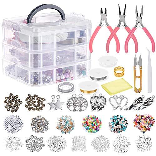 HOTOOLME Schmuck Basteln Set Schmuckherstellungs-Set mit Schmuckzange, Perlendraht, Schmuckperlen für die Reparatur von Schmuck, Halskette, Ohrringen, Armbändern, Geschenk für Mädchen, Frauen