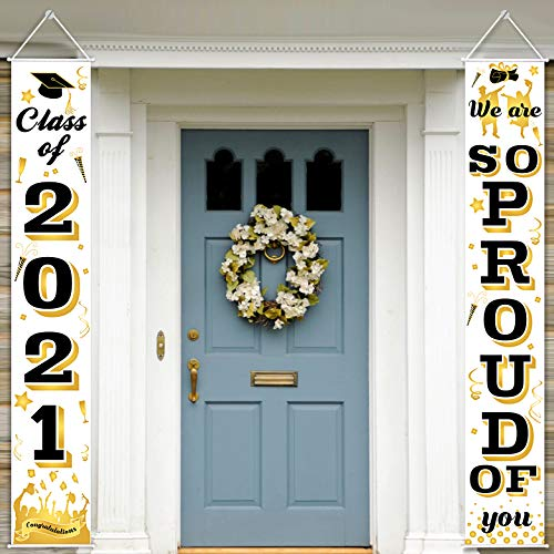 AOJOYS Graduation Porch Sign - Class of 2021 & We are So Proud of You Graduation Hanging Banners for Indoor & Outdoor - Front Door Wall Yard Graduation Party Decorations Signs