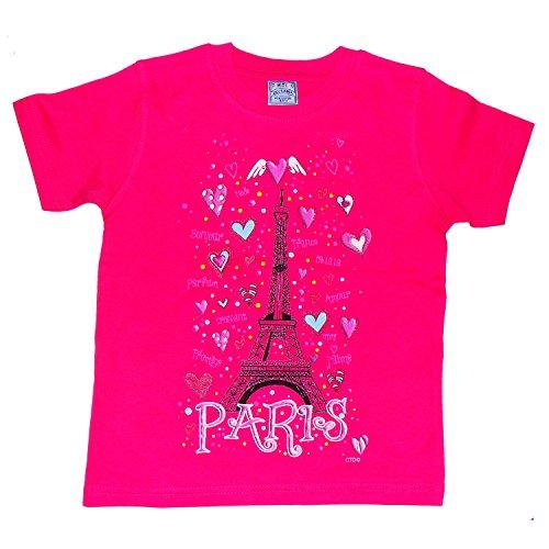 T-Shirt Fille Paris 'Coeurs Tour Eiffel' - Rose (6 Ans)