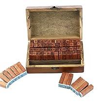ROSENICE アルファベット 数字 スタンプ 木箱ケース 70個