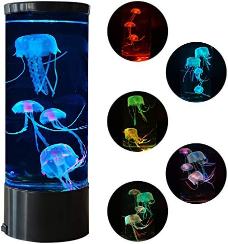 Jellyfish Lava Lamp Multi Color Changing Aquarium Night Light with 5 Glowing Jellyfish Electric product image