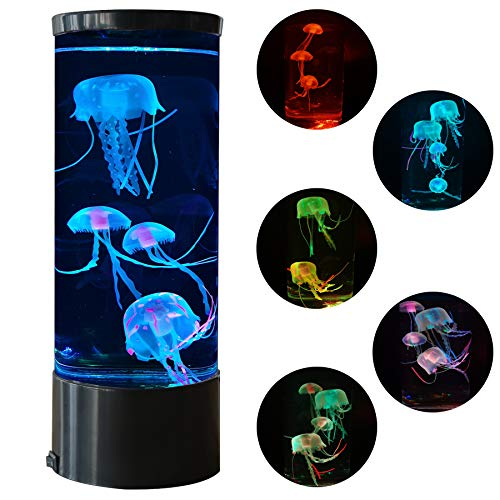 Jellyfish Lava Lamp Multi-Color Changing Aquarium Night Light with 5 Glowing Jellyfish Electric Tank Mood Light Home Office Room Desk Decor Lamp Gift for Kids Men Women for Christmas Birthday
