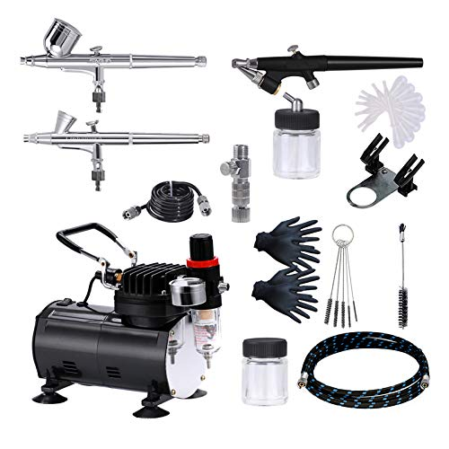 SAGUD Air Brush Compressor Airbrushing Kit with 3 Professional Airbrushes, 0.2mm, 0.3mm Gravity Feed, 0.8mm Siphon Feed for Cake, Nails, Body Art, Hobby, Craft with More Airbrush Accessories