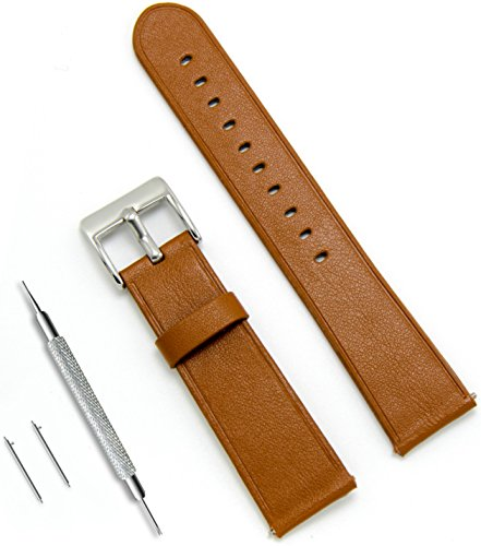 CIVO Quick Release Simple Watch Bands Top Grain Genuine Leather Watch Strap Smart Watches Band 20mm 22mm (Light Brown, 20mm)