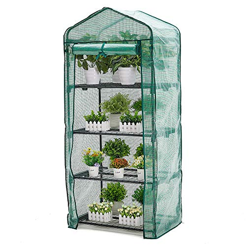 AMERLIFE 4 Tier Mini Greenhouse Portable Garden Plant Green House with Zippered PE Cover and Metal Shelves for Garden Yard Patio Indoor Outdoor Use Extra Wind Ropes & Hooks, 63''x28''x20''