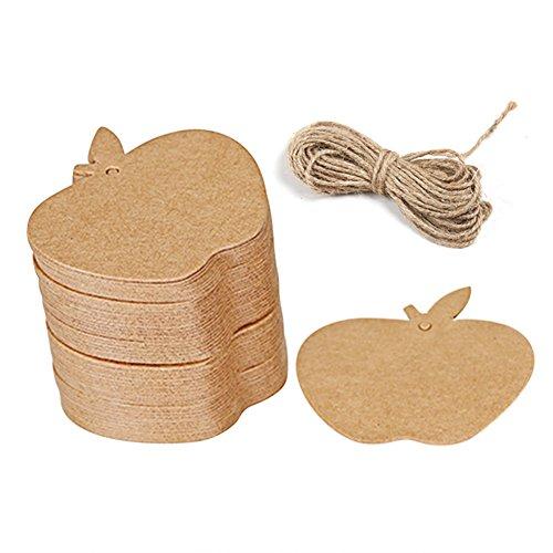 Kanggest. 100 Pcs de Forma de la Manzana Etiqueta Kraft Arte de Papel de la Etiqueta + 2M Cuerda del Cáñamo (2 mm de Diámetro)