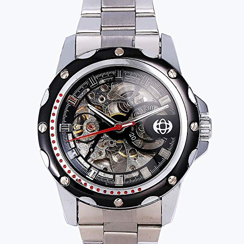 Reloj mecánico mecánico de Esqueleto de Acero Inoxidable, Hombres-A
