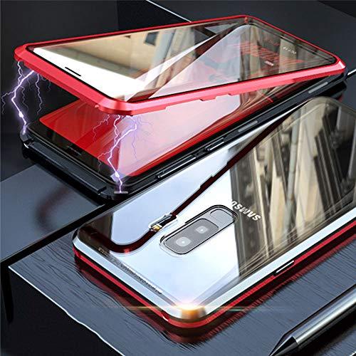 Funda Samsung Galaxy S9 Plus, Absorción Magnética Carcasa[Marco de Metal] [Front and Back Tempered Glass] 360 Grados Slim Fit Ultra Carcasa de Peso Ligero, para Galaxy S9 Plus Cover Case - Rojo