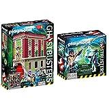 PLAYMOBIL 9219 Ghostbusters, Cuartel Parque de Bomberos, a Partir de 6 Años + Cazafantasmas Spengler and Ghost Playset de Figuras de Juguete, Multicolor, 6,6 X 14,2 X 14,2 Cm (9224)
