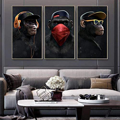 Cuadro en lienzo 3 piezas 40x60cm sin marco Gafas modernas Auriculares Música Monos Carteles e impresiones Arte de la pared Imágenes Cartel de la lona Decoración del hogar Pintura