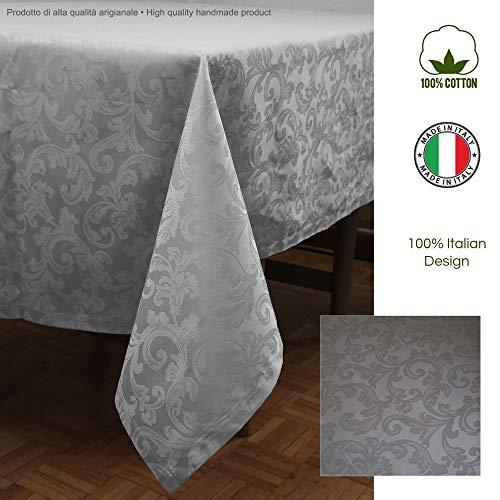 Giovanni Dolcinotti Table Collection | Tovaglia Natalizia Jacquard 140x170 cm - 100% Cotone, Grigio