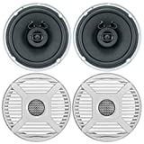 """2 x Jensen Marine MS650 6.5"""" Waterpoof Coaxial Speakers - 2 x 6.5 Removable Marine Audio Grilles for Speakers (White)"""
