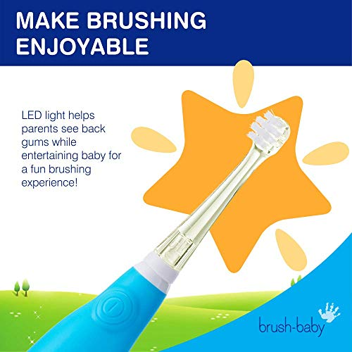 Brush Baby BabySonic Infant and Toddler Electric Toothbrush for Ages 0-3 Years - Smart LED Timer and...