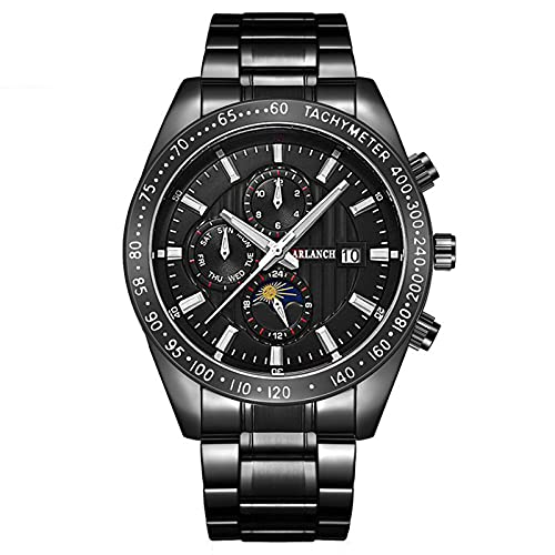 Moda Relojes Hombre Deportes Impermeable Analógico Cuarzo Acero Inoxidable Relojes de Pulsera Reloj de Negocios para Hombres Puntero, Calendario (Negro)