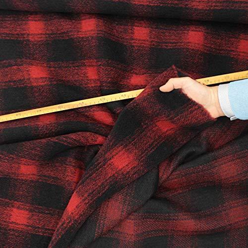 kawenSTOFFE Wollflausch schwarz rot Schottenkaro groß Soft gekocht Wolle Wollstoff Meterware