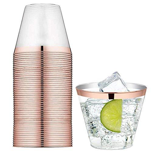Tancurry 25Stück Durchsichtig Mit Goldrand Kunststoff Becher Plastik-Becher Trinkbecher für Party Hochzeit, Camping, Strand Und Picknick (Rose Gold)