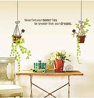 Decals Design 'Vine Flower Pots and Memories' Wall Sticker (PVC Vinyl, 70 cm x 50 cm), Multicolour
