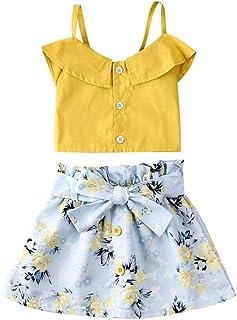 BOIZONTY Toddler Baby Girl Sleeveless White Tank Top Shirts+Gray Stripe Shorts Pant with Bow Belt+Headband Summer Clothes Set (Yellow, 2-3 Years)