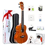 AKLOT Concert Ukulele Solid Mahogany 23 Inch Uke with Free Tutorial and Beginner Kit ( Gig Bag, Picks, Tuner, Strap, String, Cleaning Cloth, Starter Manual )