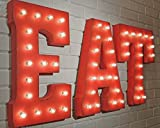 EAT - (red) Large 21' Rustic Metal Vintage Inspired Metal Marquee Light Up Sign