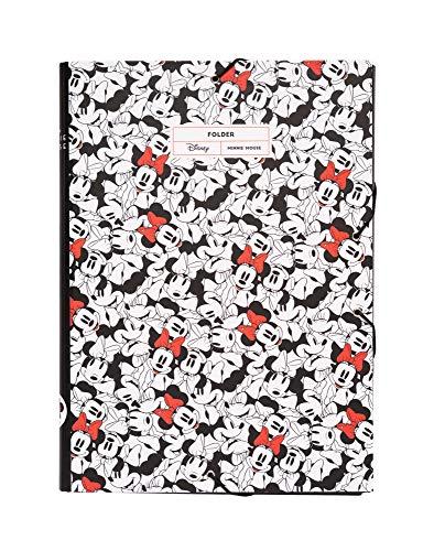 Erik® - Cartellina rigida con elastico Minnie Disney, cartone, 24x34 cm, ideale come cartellina portadocumenti A4
