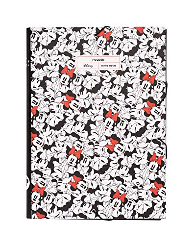 Erik - Cartellina rigida con elastico Minnie Disney, cartone, 24x34 cm, ideale come cartellina portadocumenti A4