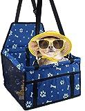 Sinrextraonry Hundeautositz, tragbarer Haustier-Hundesitz, geeignet für kleine und mittelgroße Haustiere (blau mit Pfotenabdruck)