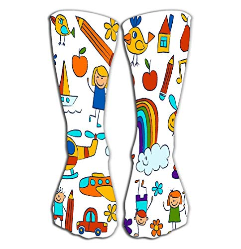 hgdfhfgd Outdoor Sports Men Women High Socks Stocking Kindergarten Doodle Pictures White Background Hand Drawn Images Creative Tile Length 19.7