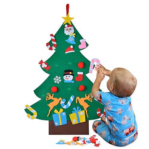 COOFIT Felt Christmas Tree, DIY Felt Christmas Tree for Toddlers with 26pcs Ornaments Xmas Gifts for Kids Christmas Decorations
