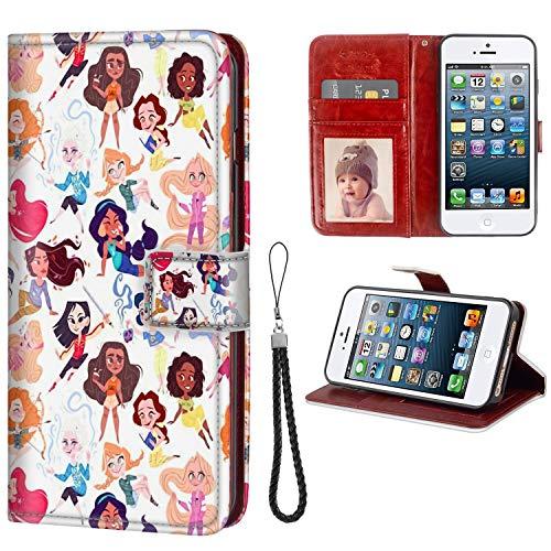 DISNEY COLLECTION Wallet Phone Case iPhone 5C Disney Princesses Premium PU Leather Cash Card Slots Wrist Strap Lanyard Design Trendy