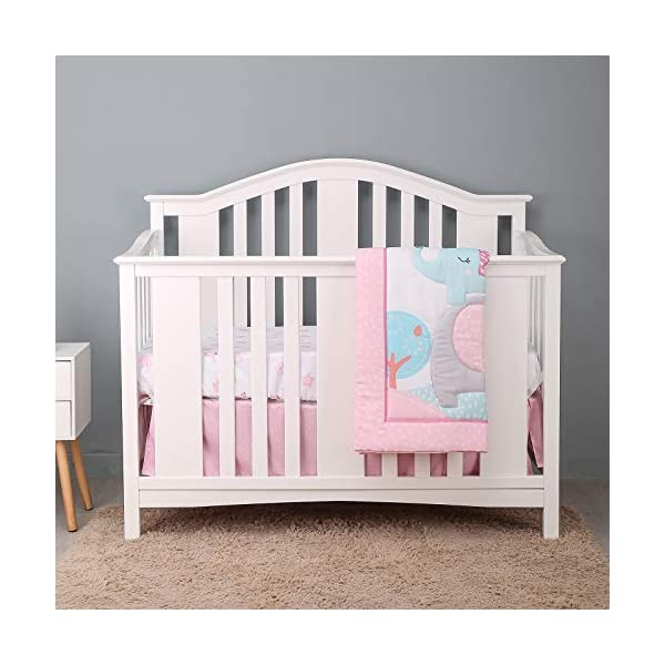 FlySheep 3 Piece Cute Blue Teal Dinosaur Crib Bedding Set for Boys, Microfiber Dino Nursery Set Includes Baby Comforter, Crib Sheet and Dust Ruffle