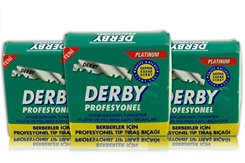 Cuchillas Derby Profesionales - Cuchillas de afeitar derby - Juego de 50 paquetes - Cuchillas de afeitar de un solo filo para afeitadora recta de SMI