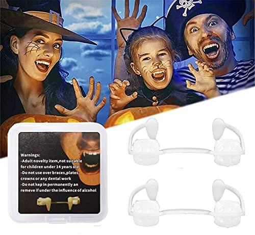 Pipihome Dientes de vampiro retráctiles para Halloween, terribles dientes de vampiro, reutilizables, para niños, adultos, Halloween, carnaval, fiestas, juego de rol (2 unidades)