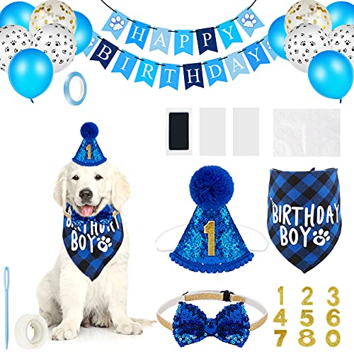 18 Pieces Dog Birthday Party Supplies, Pet Birthday Boy Bandana Dog Birthday Bandana Balloon Banner Pet Birthday Hat with 0-8 Figures Touch Ink Pad and Imprint Cards Dog Birthday Party Decorations