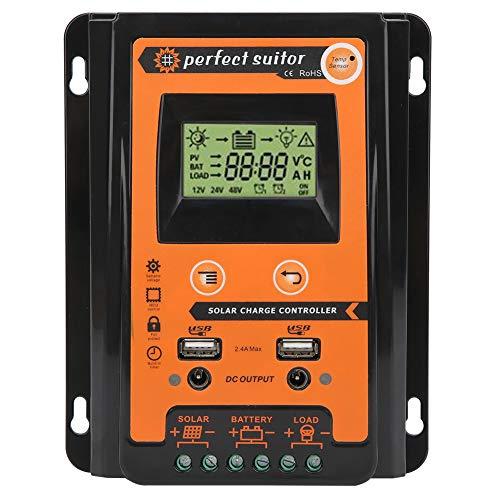 Cargador de batería de panel solar, protección contra sobretensiones IP32 a prueba de agua Cargador MPPT, pantalla LCD Conector de CC dual para la industria Modo de control de carga Hogar