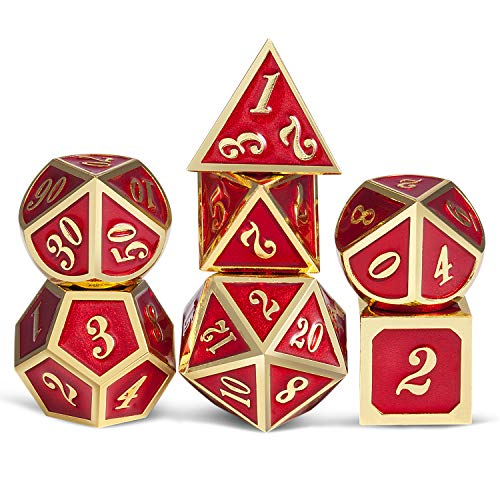 Ruby Red Metal Dice for DND, Heavy Full Set of Polyhedral Tabletop Games Dice Set with Free Metal Case for Dungeons and Dragons RPG D&D and Table Games