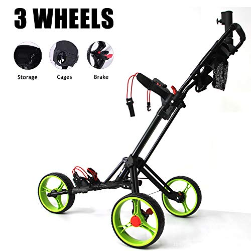 Buy Bargain ROCK1ON 3 Wheel Golf Push Cart Lightweight Foldable Golf Trolley Holder with Adjustable ...