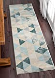 Well Woven Melody Mint Blue Geometric Tile Modern 3x12 (2'7'' x 9'10'' Runner) Area Rug Mint Blue Triangles Isometry Marble Distress Contemporary Carpet