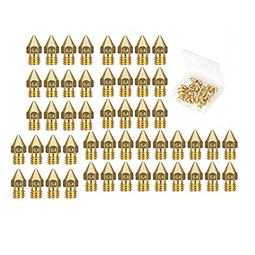 XUNLAN durable 50 Pcs 3D Printer Extruder Nozzle-MK8 0.4 Mm Nozzle Fit For Ender 3 Anet A8 Makerbot MK8 Creality CR-10 CR-10S S4 S5 3Pro 5 Wearable (Color : Yellow)
