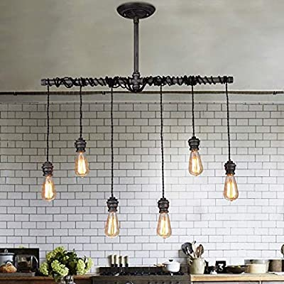 Jiuzhuo Industrial Brushed Black Metal 6 Hanging Bulb Light Vintage Pendant Ceiling Light