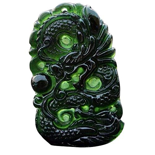 Jannyshop Chinesischer Drache Jade Halskette Anhänger Handgemachte Jade Desktop Ornamente für Studie Büro Handwerk Glück Amulett
