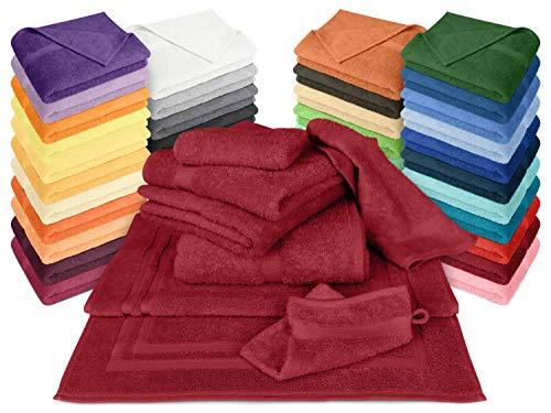 Dyckhoff Frottiertücher der Serie Opal - erhältlich in 33 modernen Farben und 7 verschiedenen Größen -Markenqualität, 1 Pack (3 Stück) - Handtücher [50 x 100 cm], Bordeaux