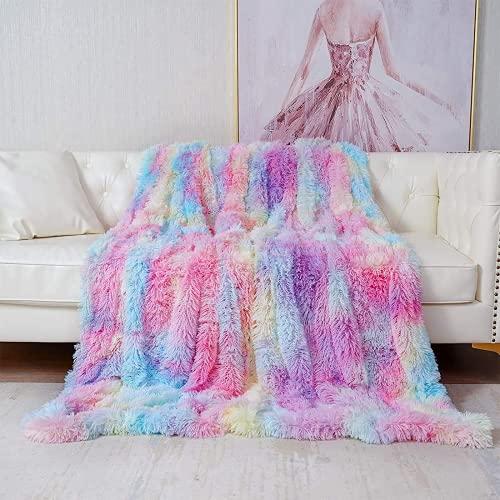 Blanket, Super Soft Longhair Fluffy Fleece Rainbow Blanket, Shaggy Warm PV...