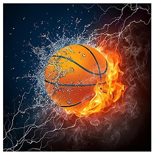 Chihie Hielo y Fuego fútbol Baloncesto Lienzo Pintura impresión HD póster Pared Arte Imagen Sala de Estar decoración del hogar-60X60cm sin Marco
