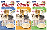 INABA Churu Lickable Creamy Purée Cat Treats 3 Flavor Variety Pack of 12 Tubes